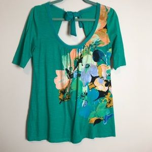 Anthro Green Floral Tie Back Top